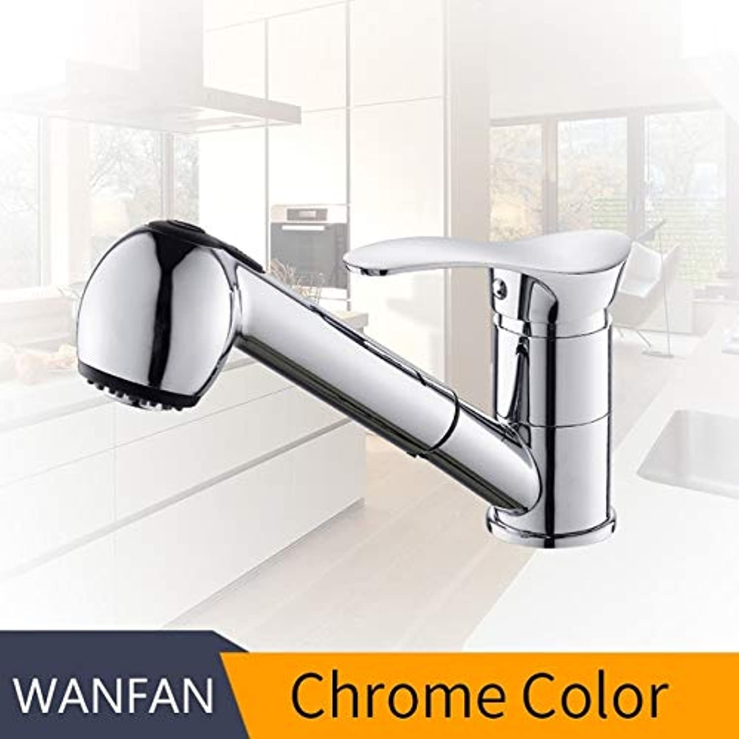 U-Enjoy Chandelier Faucets Grifos Kitchen De Swivel Top Quality Pull Cocina Out Kitchen Sink Water-Saving Black Basin Faucet Crane Mixer Brass Tap Free Shipping [Chrome]