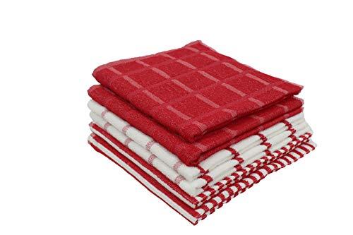 Paños de Cocina 100% Algodón, Toallas de Rizo 50x50 cm, Trapos Absorbentes, Suaves y Resistentes 400-450 gr. (Rojo, 6)