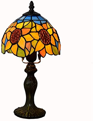 Tournesol Lampe Bureau E27 Abat-jour En Verre Teinté Pastoral Européen Lampes De Bureau Lampe De Chevet Créative Décor Lumière De Fête pour Bar Club Chambre (8 Pouces)