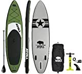Atoll 11'0' Foot Inflatable Stand Up Paddle Board, (6 Inches Thick, 32 inches Wide) ISUP, Bravo Hand Pump...