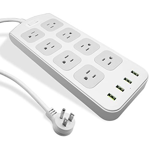 Power Strip Surge Protector 1875W/15A - 8 AC Outlets 3.1A 4 USB Ports 6 Feet Long Extension Cord,...