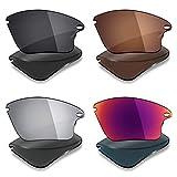 Mryok 4 pares de lentes polarizadas de repuesto para Oakley Fast Jacket XL Sunglass - Stealth Black/Bronze Brown/Silver Titanium/Midnight Sun