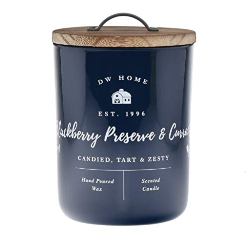 DW Home Charming Farmhouse Collection BlackBerry Preserve & Currant Scented 2 Wick Candle Topped with a Rustic Wooden Lid