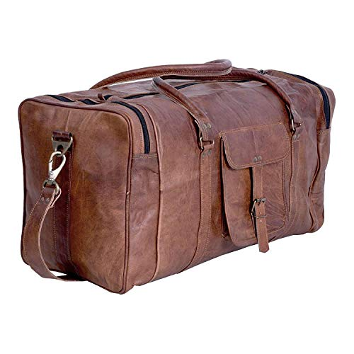 KPL 21 Inch Vintage Leather Duffel Travel Gym Sports Overnight Weekend Duffle Bags