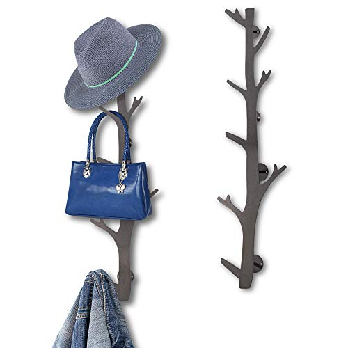 TERRA HOME Coat Rack Wall Mount - Hat Rack for Wall - Decorative Modern Design Tree Shape Wall Mounted Coat Rack with 8 Hooks for Baseball Caps, Coats, Purse - Vertical Contemporary Wall Coat Rack