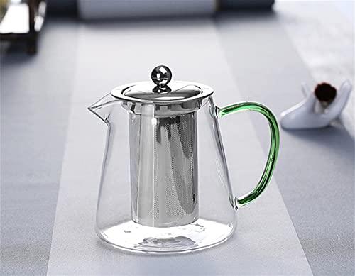 Tetera de vidrio de colorido resistente al calor 550 ml con filtro, la olla de té se puede calentar directamente en el colador de fuego Hervidor de leche de café (Color : 03)