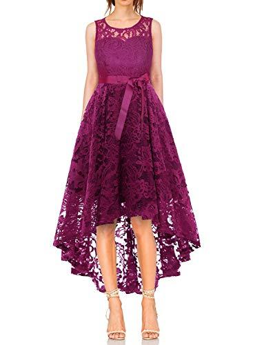 MONYRAY Damen Elegant Schwingendes Kleid aus Spitzen Asymmetrisch Ärmellos Unregelmässig Abendkleider Festlich Cocktailkleider Ballkleid Pinup Rockabilly Party Brautjungfern Kleid Grape M