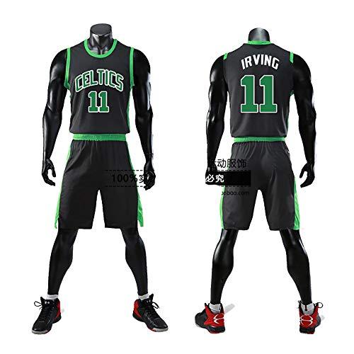 Maglia Kyrie Irving Boston Celtics n. 11, divisa da basket, felpa con cappuccio, traspirante assorbente del sudore e facile da pulire, maglietta da basket per uomo unisex sportswear-black-L