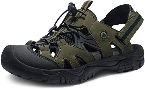 ATIKA Sandali sportivi da uomo con punta chiusa, leggeri per camminata, trailing, trekking, scarpe da acqua in estate, Verde (M142, confezione da 1, colore nero oliva), 41 EU