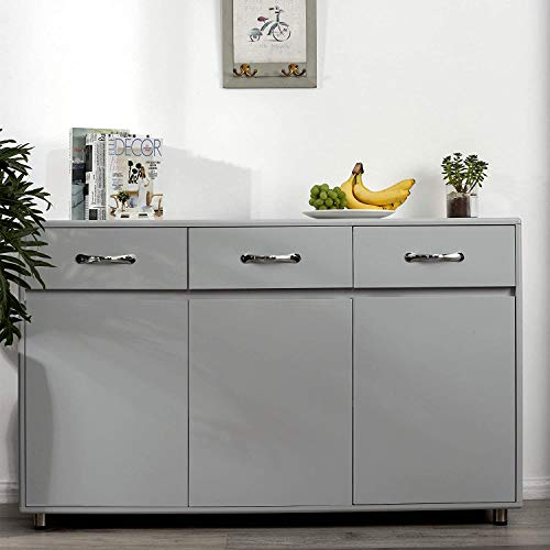 Sideboard Cabinet Kitchen Buffet Storage Cupboard with 3 Drawers and 3 Doors (Grey)