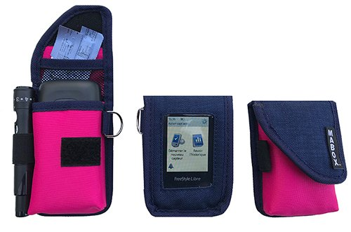 Schutzhülle für Blutzuckermessgerät Freestyle Libre Modell Smart' Access Mabox-Marineblau/Rosa