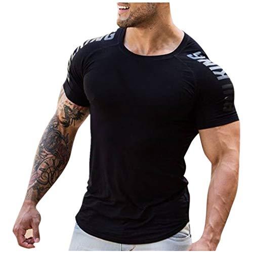 Skxinn Funktionsshirt/Herren Gym Fitness T-Shirt Kompressionsshirt Slim Fit Seamless Männer Bodybuilder Trainingsshirt Kurzarm Top Jungen Sportshirt Laufshirt Bekleidung Sonderverkauf(Schwarz,XXL)
