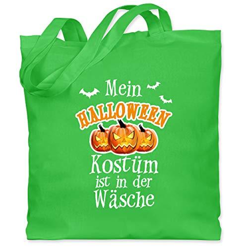 Shirtracer Halloween - Mein Halloween Kostüm ist in der Wäsche - Unisize - Hellgrün - frech - WM101 - Stoffbeutel aus Baumwolle Jutebeutel lange Henkel