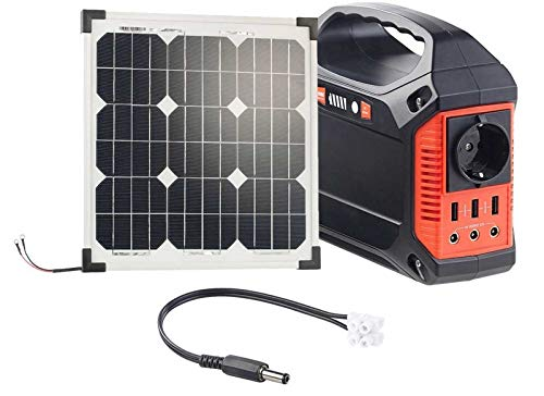 reVolt Solar Akku: Powerbank & Solar-Konverter mit 20-W-Solarzelle & Anschlusskabel, 42Ah (Solar-Generator & Powerbank)