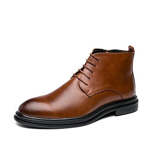 Zapatos cómodos Nuevas botas superiores altas para hombres con cremallera interna con cordón de encaje pulido grifo tono redondo de punta de bajo bloque tacón de cuero genuino suela de goma Moda