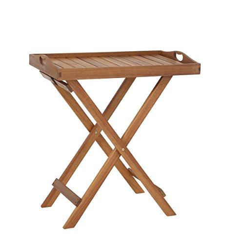 Greemotion Borkum Statafel, bijzettafel met afneembaar dienblad, tuintafel van hoogwaardig FSC® acaciahout, ruimtebesparend inklapbaar, afmetingen: ca. 50 x 37 x 70 cm.