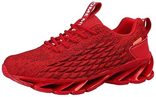 Zapatos Deporte Hombre Zapatillas De Running Transpirables Deportivas Gimnasio Correr Aire Libre Sneakers Rojo 43