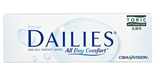 Alcon Focus Dailies Toric Torische Tageslinsen weich, 30 Stück / BC 8.6 mm / DIA 14.2 / CYL -0,75 / ACHSE 20 / +0,50 Dioptrien
