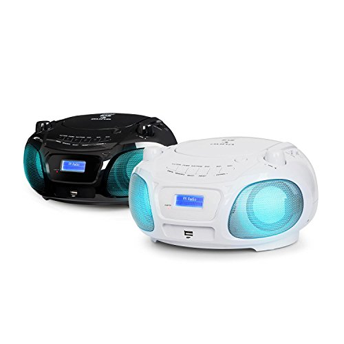 auna Roadie DAB Stereoanlage Compact DAB System (CD-Radio, USB, MP3, DAB/DAB+ und UKW Radio, 3.0 Bluetooth, 2 x 1,5 Watt RMS, Netz- und Batterie-Betrieb) weiß