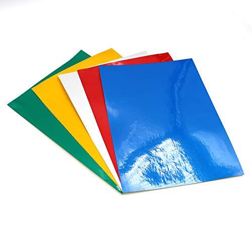 (29 €/m²) Plotterfolie Reflektierend Din A4 Format Effektfolie DIY Basteln Bastelfolie Kfz Folie Plotten für Aufkleber Sticker Beschriftungen (Bunt, 5 Stück)