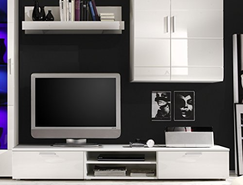 Wohnwand Shane 265x197x47cm Schrankwand Wohnzimmerschrank LED-Beleuchtung, TV-Board, Lowboard, Wandboard, weiß Hochglanz, Schwarzglas - 2