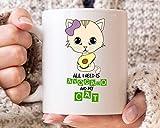 Taza de café con texto en inglés 'All I Need is Avocado and My Cat para veganos'