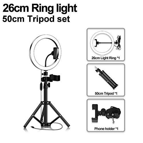 Aro de Luz para Movil con Tripode Grande, 3 Colores Regulables Control Remoto Bluetooth para Youtube, Selfie, Maquillaje19in
