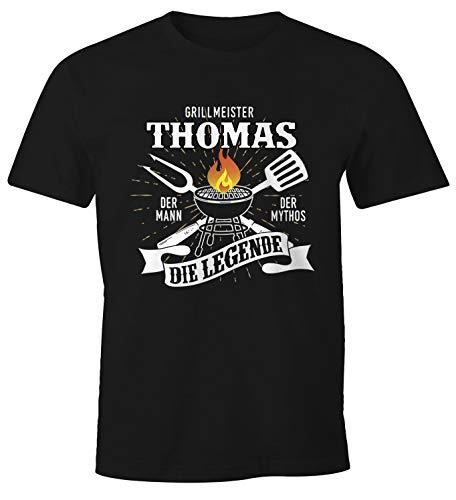MoonWorks® Herren T-Shirt personalisierbar Grillmeister eigener Name die Legende Grillen Geschenk Fun-Shirt schwarz XL