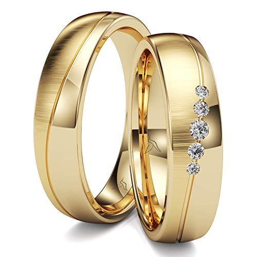 KOLIBRI RINGS GOLD- Eheringe Paarpreis Gold 333 Massiv mit 6 Diamanten Trauringe Verlobungsringe Partnerringe 100% Made in Germany- Inkl. Gratis Etui + Gravur + Zertifikat (Quermatt/Hochglanz Poliert)