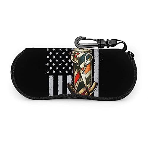 Ascfeagh Barber Pole American Flag Salon Cremallera Shell Gafas de sol Estuche/Estuches para anteojos Unisex Durable Portátil Ligero 17x8cm