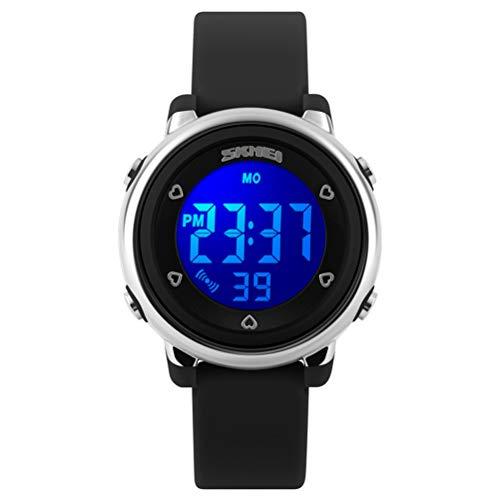 Gosasa Jelly de dibujos de los niños Digital LED Deportes impermeable reloj con correa de goma azul (negro)