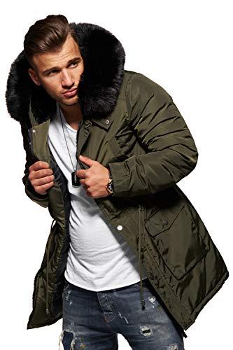 behype. Herren Winter-Parka Winter-Jacke mit Kunstfell an der Kapuze 55-1723 Khaki S