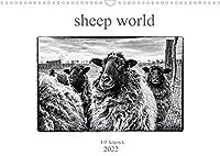 sheep world (Wandkalender 2022 DIN A3 quer): Bilder von Rauhwolligen Pommerschen Landschafen in schwarz-weiss. (Monatskalender, 14 Seiten )