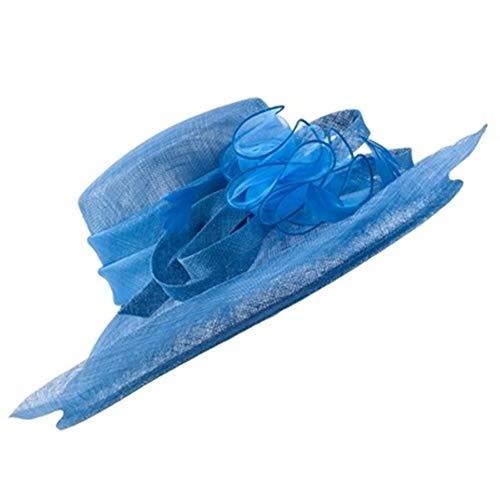 Vrouwen hoed brede rand hoed dame veer lint kerk hoed for Hat cocktail huwelijksfeest breedte vrouwelijke hoed sombrero brede hoed van hoge kwaliteit (Color : Royal Blue, Size : M)