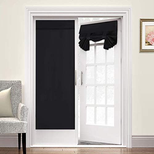 Blackout Curtain for French Doors - Thermal Insulated Blackout Glass Door Curtain Panel Tricia Curtain for Door Window Curtains, 2 Panels, 26 x 68 Inches, Black