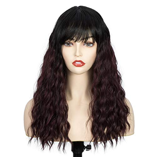 Lekker Wig with Bangs Lace Parting Curly Bob Wigs for Women Water Wavy Synthetic Hair Wig Bob Heat Resistant Fiber Costume Wigs for Girls (Ombre 99J)