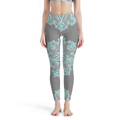 EUNNT Teal and Aqua Lace Mandala on Grey Sport Fitnesshose für Jogging White s