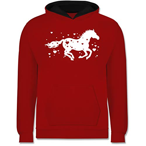 Shirtracer Tiermotive Kind - Pferd mit Herzen - 152 (12/13 Jahre) - Rot/Schwarz - Pulli mit Pferde mädchen - JH003K - Kinder Kontrast Hoodie