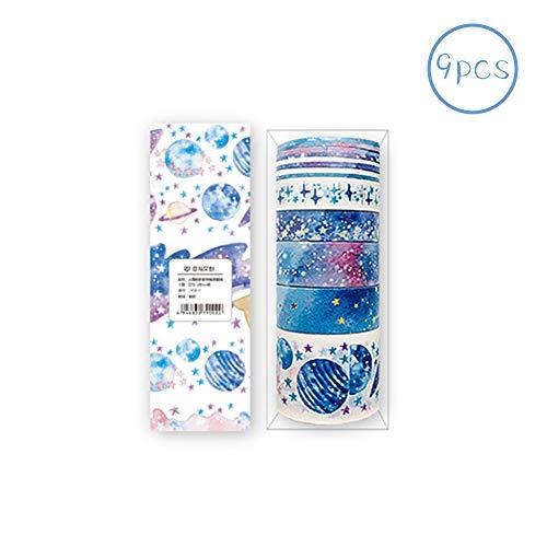 Rocita 9 Stück / Set Farbiges Tape Washi Tape Scrapbooking Dekoration DIY Basteln Cute Cartoon Tape Sticker Papier Punkte für DIY Kunst und Handwerk Raumdekoration (Sterne)
