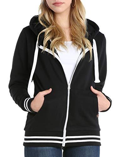 Doublju Lightweight Thin ZipUp Hoodie Jacket for Women with Plus Size Black 2X