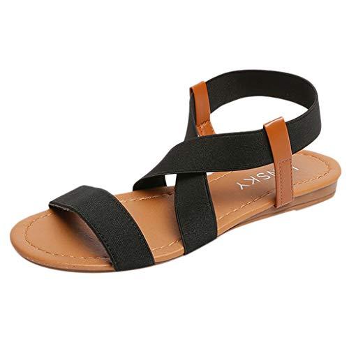OSYARD Flache Sandalen für Damen,Frauen Offene Zehen Elastische Riemen Flats Freizeitschuhe Baden Slingback Sandalette Sommerschuhe Strandschuhe