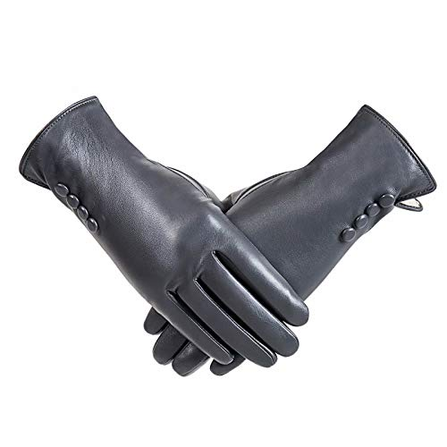 Winter PU Leather Gloves For Women, Warm Thermal Touchscreen Texting Typing Dress Driving Motorcycle Gloves With Wool Lining (Gray-M)