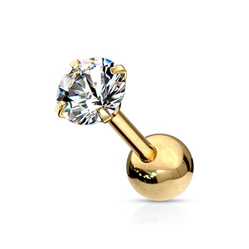 beyoutifulthings 1 Knorpel Ohr-stecker Zirkonia Clear 2mm Rund Cartilage Labret Piercing-s Tragus Gold Edelstahl Schraub-Verschluss Steg 6/1,2mm