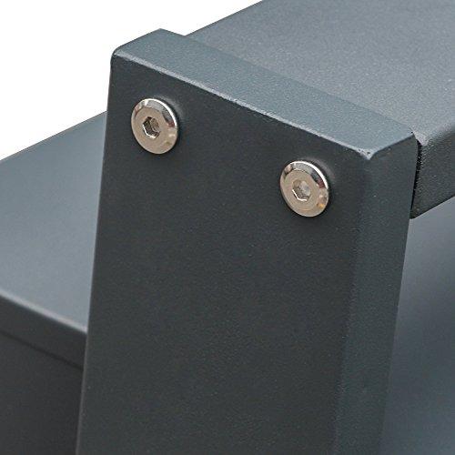 BITUXX® Design Edelstahl Doppel Stand-Briefkastenanlage Postkasten Letterbox Mailbox mit 10 Fächer und Dunkelgrauen Standrohren - 2