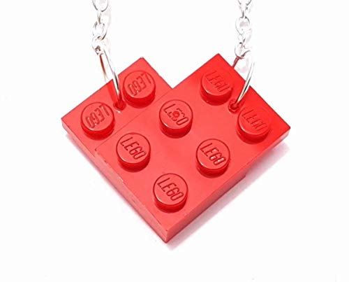 Love Heart Necklace made with Toy Building Bricks plates