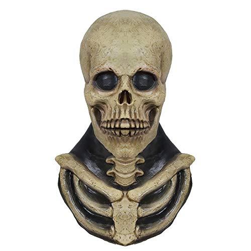 molezu Schädel Skelett Maske Knochen Bruststück Halloween Kostüm Horror Evil Latex Gummi Vollkopfmaske