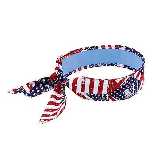 Ergodyne Chill Its 6700CT Cooling Bandana, Lined with Evaporative PVA Material for Fast Cooling Relief, Tie for Adjustable Fit, Stars & Stripes (12561)