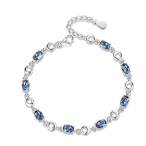 Armband met hartvormige hanger van de oceaan, met kristallen en diamantjes, eenvoudig cadeau voor Valentijnsdag