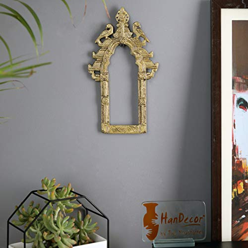 Two Moustaches Vintage Twin Peacock Brass Temple Prabhavali Wall Hanging