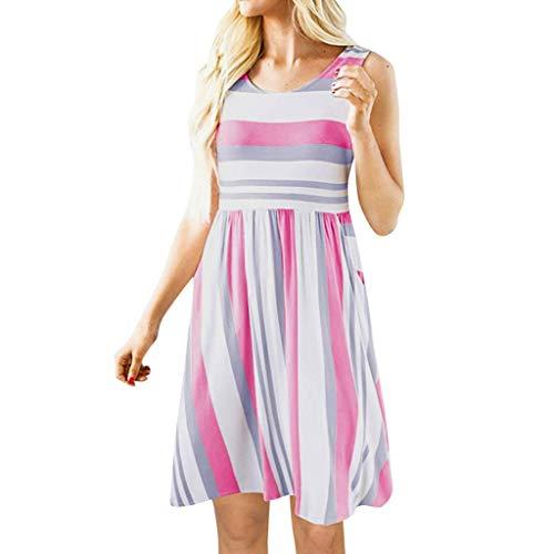 Kinlene 2018 Cóctel Fiesta Diario Playa Vestir,Verano Mujer Casual Vestidos, Vestidos para Mujer Sin Mangas Verano Elegantes Cortos Playa Casual, Color Sòlido(Multicolor 6,S)